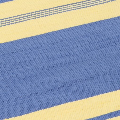 strip yellow blue cotton rag rug